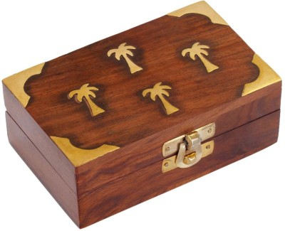 Craft Art India Handmade Mini Wooden Jewellery Box with Embossed Brass Design Jewellery Vanity Box