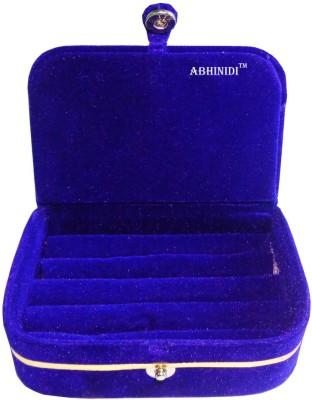Abhinidi Set of 1 velvet ring storage travelling folder case Box Vanity Box(Blue)