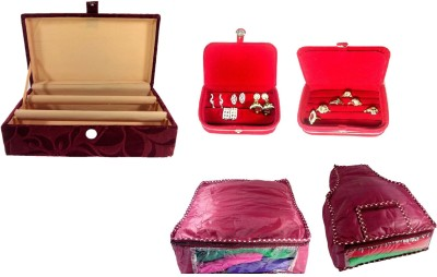 Addyz Combo of 2 Rod Wooden Banglebox, Earring, Ring Box With 1 Saree 1 Blouse Cover. Jewellery Vanity Box
