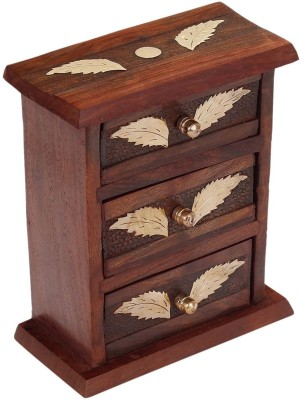 Craft Art India Handcrafted Wooden Small / Mini Almirah / Jewellery Organiser with Brass Embossed Jewellery Vanity Box