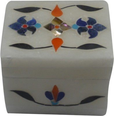 Craftuno Handcrafted Rectangular Marble Box With Inlay Work On All Sides Multipurpose Decorative Vanity Box