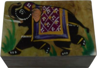 Craftuno Handcrafted Soapstone Box With Elephant Painting Work Multipurpose Decorative Vanity Box