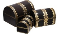Shreeng Three sets of brass work wooden boxes(Pack of 3)