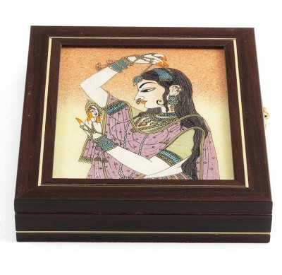 Aapno Rajasthan Gem with Semi Precious Stone Inlay Work Jewellery Box Vanity Box