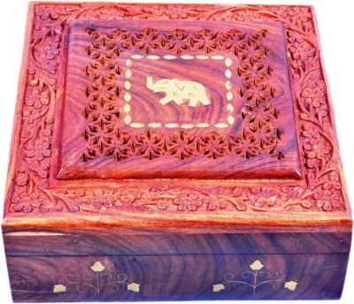 Crafts Paradise Beautifully hand carving and Brass Elephant design inlay work Wooden Jewellery Vanity Box