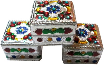 Goldcave Decorative Jewellery / Sindoor /Silver coin box - Set of 3 Makeup, Jewellery, Coinbox, Sindoor, Multipurpose Vanity Box
