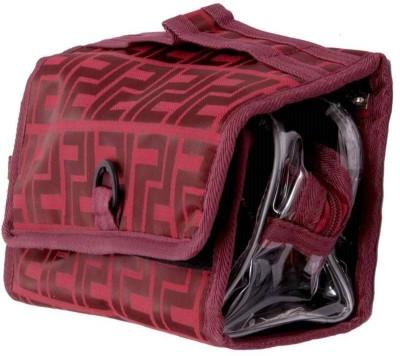 Kuber Industries Makeup Kit Maroon Folding Cum Hanging Jewellery Vanity Box