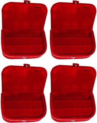 Abhinidi Set of 4 velvet ring storage travelling folder case Box Vanity Box(Maroon)