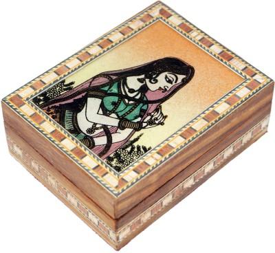 R S Jewels Wooden Handicrafts Bani Thani Gemstone Painting 4 x 3 Jewellery Vanity Box