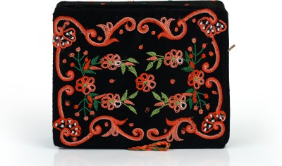 Soulful Threads Red Thread Aari Embroidered Black Net Clips Vanity Box
