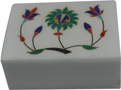 Craftuno Handcrafted Rectangular Marble Box With Inlay Work On Top Multipurpose Decorative Vanity Box