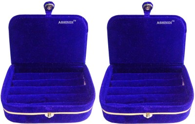 Abhinidi Set of 2 velvet ring storage travelling folder case Box Vanity Box(Blue)