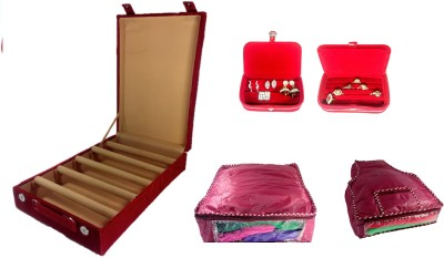 Addyz Combo Of 5 Rod Wooden Banglebox, Earring, Ring Box With 1 Saree 1 Blouse Cover. Jewellery Vanity Box