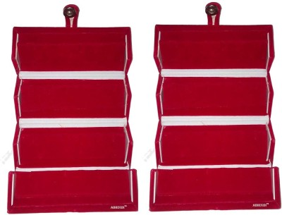 Abhinidi Set of 2 Maroon velvet coated Earring folder case Box Vanity Box(Maroon)