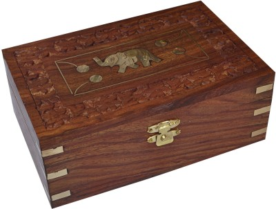 Dakshcraft Hand Engraved Elephant Design Jewelry Box Makeup and Jewellery Vanity Box(Brown)