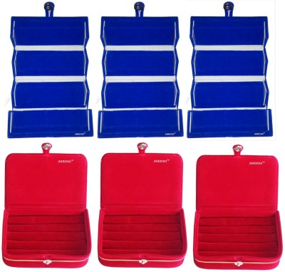 Abhinidi Pack of 6 Combo blue earring folder and red ring Box Vanity Box(Blue, Red)