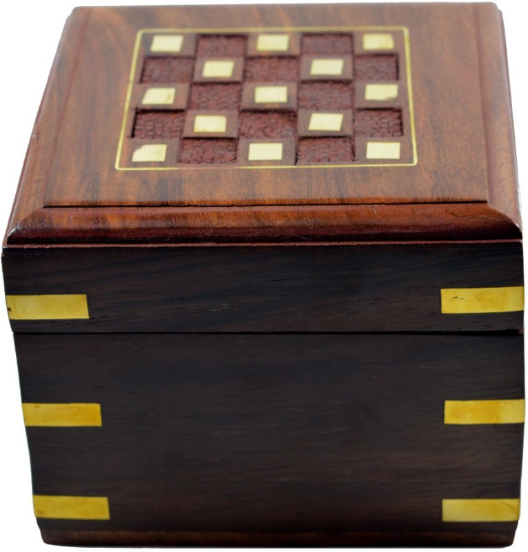 Craftuno Craftuno Handcrafted Wooden Jewellery Box Decorative Vanity Box(Brown)