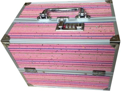 Platinum Case with lock Makeup, Jewellery Vanity Box(Pink)