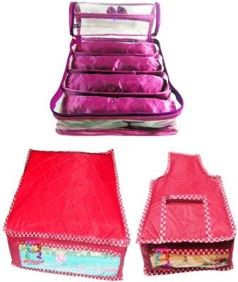 Atorakushon Combo Satin 4 Rods Bangle box Jewellery Box Saree & Blouse Cover Storage Case Vanity Box