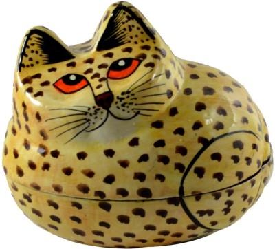 Craftuno Handcrafted Paper Mache Cat Showpiece Vanity Box