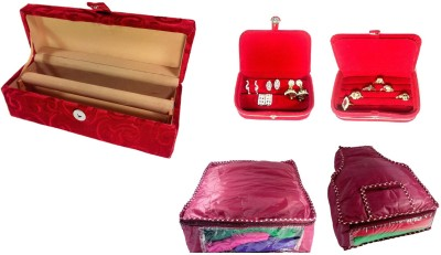 Addyz combo of 1 Rod Wooden BangleBox, Earring, Ring box with 1 saree 1 blouse cover. Jewellery Vanity Box