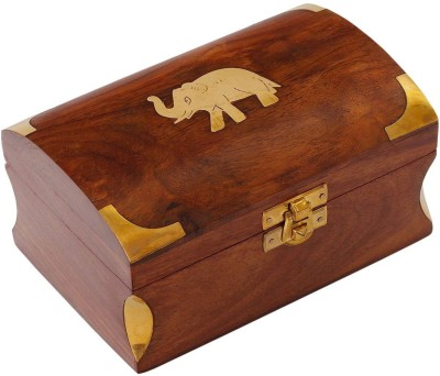 Craft Art India Beautiful Handmade Small Wooden Jewellery Box with Embossed Brass Design Jewellery Vanity Box