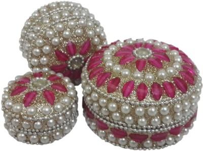 Dineshalini White & Pink Multipurpose Box Vanity Box