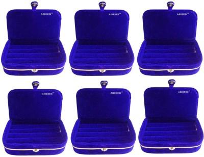 Abhinidi Set of 6 velvet ring storage travelling folder case Box Vanity Box(Blue)