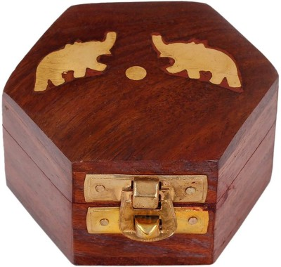 Craft Art India Handmade Small Wooden Jewellery Box with Embossed Brass Design Jewellery Vanity Box