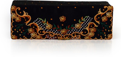 Soulful Threads Yellow Thread Aari Embroidered Black Net Bangle Vanity Box