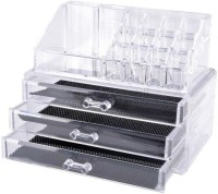 Sukot Cosmetic Makeup Jewelry Organizer Acrylic Box Makeup Cosmetic Box Vanity Box(Clear)