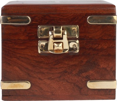 Kartique Hand Made Wooden Multi Utility with Brass strip decoration on corners Jewellery Box Vanity Box