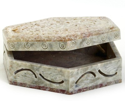 Aapno Rajasthan Floral Design Hexagon Shaped Box Multiutility Vanity Box