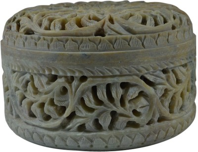 Craftuno Handcrafted Round Soapstone Box With Floral Carving Multipurpose Decorative Vanity Box