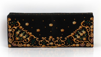 Soulful Threads Yellow Thread Aari Embroidered Black Net Tie Vanity Box