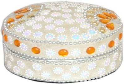 Falak Handicrafts Round Box Off white Jewellery Box Vanity Box