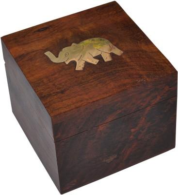 Dakshcraft Small Wooden Jewelry Box Brass Elephant Inlay Makeup and Jewellery Vanity Box