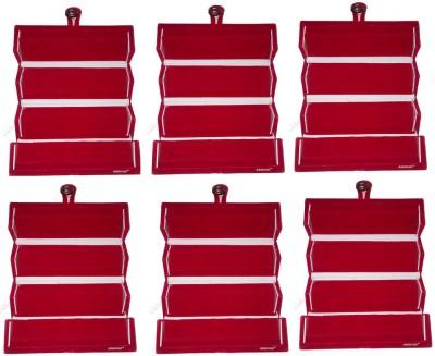 Abhinidi Set of 6 Maroon velvet coated Earring folder case Box Vanity Box(Maroon)