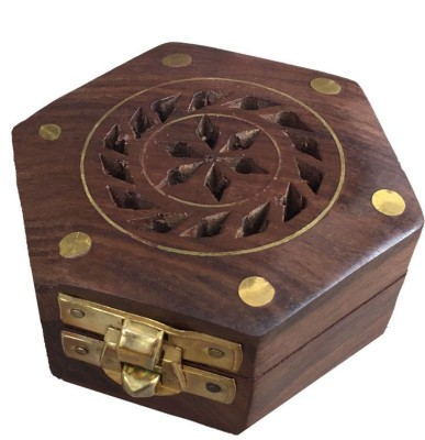 Craft Art India Beautiful Handcrafted Hexagonal Wooden Storage Box For Rings With Diamond Shaped Design Jewellery Vanity Box