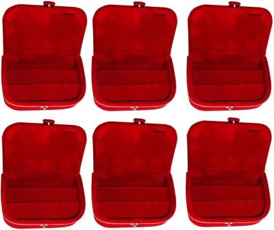 Abhinidi Set of 6 velvet ring storage travelling folder case Box Vanity Box(Maroon)