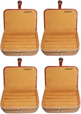 Abhinidi Set of 4 velvet ring storage travelling folder case Box Vanity Box(Brown)