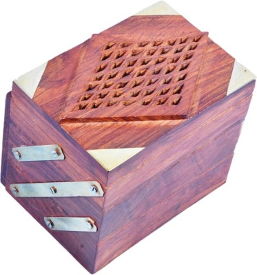Crafts Paradise Beautifully Hand carved and Brass inlay work Sliding 3 in 1 Wooden Jewellery Vanity Box(Brown)