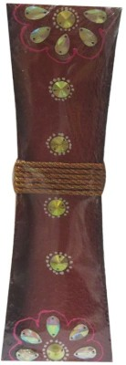 Flowers Forever Beautiful Kundhan work with Thread Brown Color Wooden Vase(12 inch, Multicolor)