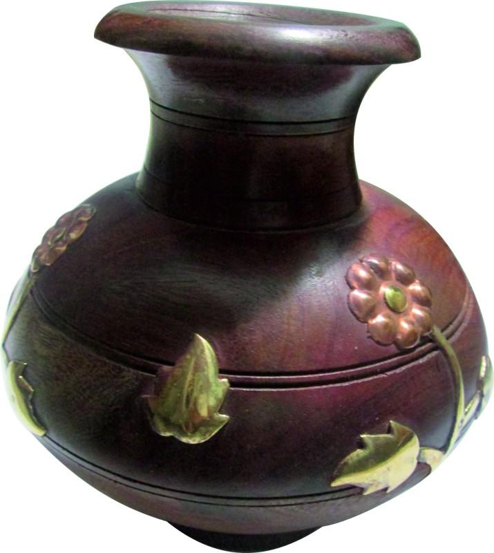 Handicraft Hand Made Wooden Vase(4.5 inch, Brown)
