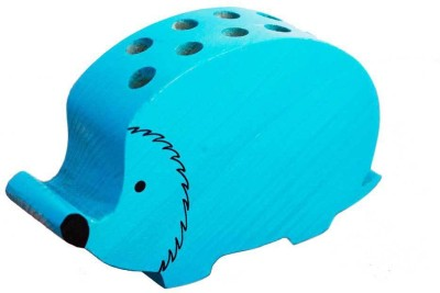 PoppadumArt Itsy-Bitsy - Hedgehog Wooden, Glass Vase(3.5 inch, Blue)