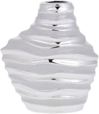 Dharmaraj Links Silver Porcelain Vase(8.661422 inch, Gold)