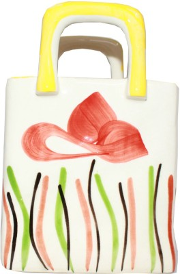 Odisha Bazaar Unique Decorative Artificial Flowers/ Tree Bag Ceramic Vase(7 inch, Multicolor)
