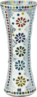 Somil Glass Vase(11.8 inch, Multicolor, White)