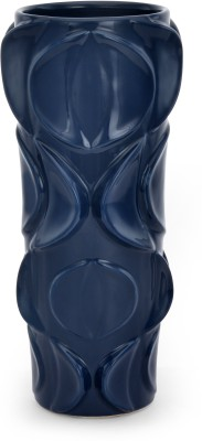 @home Homely Ink Tall Ceramic Vase(10.8075 inch, Blue)