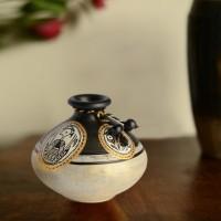 ExclusiveLane Handpainted with Madhubani Art in Matki Shape Terracotta Vase(5 inch, White, Gold)
